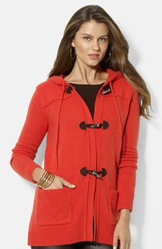 Lauren Ralph Lauren Hooded Toggle Front Cardigan available at #Nordstrom