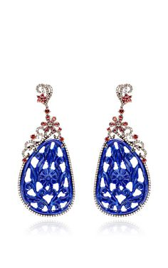 Carved Lapis, Brown Diamond And Orange Sapphire Earrings by Bochic for Preorder on Moda Operandi