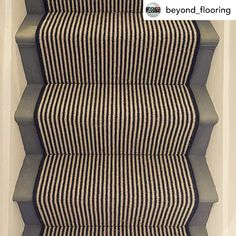 Is there a better combination than stripes & stairs?! Thanks to @beyond_flooring for sharing this fab carpet runner with custom black edging 🖤 See the full range of stripes we have available on our website: www.hughmackay.co.uk #carpet #flooring #stairrunner #carpetrunner #stripedcarpet #stairs #stairdesign #home #homedecor #homeinspo #homeinspiration #interiør #interiors123 #interiors4all Carpet Stairs, Carpet Flooring, Black And White Stairs, Painted Stairs, Carpet Runner, Animal Print Rug, Stripes, Cases, Range