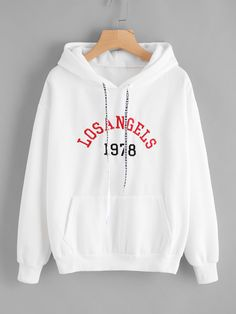 ROMWE Letter Embroidered Drawstring Pocket Hoodie Women White Spring Autumn Tops Ladies Hooded Full Sleeve Sweatshirt - white,s White Hooded Sweatshirt, White Hoodie, Hooded Sweatshirts, Trendy Hoodies, Sports Hoodies, Mode Outfits, Sweat Shirt, Long Sleeve Tops, Clothes