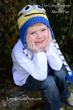 Minion Character Hat Pattern inspired by Despicable Me * Crochet Design by April Burwick of TheCozyBuckeye