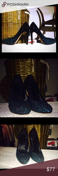 Shine Bright in bling end out turquoise stud heels Enjoy a night out in your JEWELLED Aqua Swarovski crystal heels inside peeling going on... Take advantage of the price... Make a reasonable offer Vince Shoes Heels