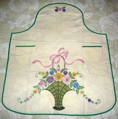 Tinted Embroidery - pin-on apron