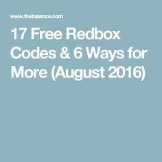 17 Free Redbox Codes & 6 Ways for More (August 2016)