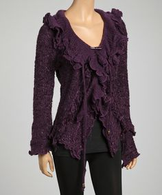Take a look at this Purple Ruffle Trim Wool-Silk Blend Zip-up Jacket by Pretty Angel on #zulily today!