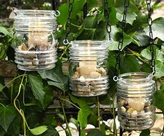 Vintage glass candle holders - rustic wedding lantern - hanging candle holder - (set of 3) - Wedding table decor (*Amazon Partner-Link)