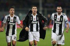 Cristiano Ronaldo joao Cancelo and Giogio Chiellini of Juventus greets fans after during the Serie A match between ACF Fiorentina and Juventus at Stadio Artemio Franchi on December 2018 in. Get premium, high resolution news photos at Getty Images Juventus Fc, Cristiano Ronaldo, Real Madrid, Football, Celebrities, Jackets, Soccer Teams, Florence Italy, Tops