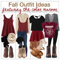 Fall Outfit Ideas featuring the color maroon ♥ - Polyvore