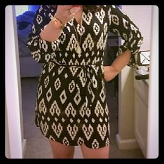 Host Pick3/20☆☆ Black Ikat tunic dress Black and cream Ikat dress with front side pocket and optional tie belt. Great with or without belt as a dress or with your favorite pair of leggings. Polyester. INC International Concepts Dresses Long Sleeve
