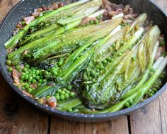 Braised Ruby Baby Gem Lettuce with Spring Onions, Peas, Bacon and Crème Fraîche