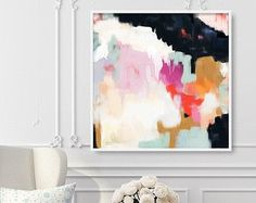 Ruthie, 6x6-36x36in, Abstract Fine Art Print, abstract print, blue abstract, pink abstract