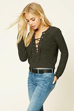 Boxy Lace-Up Sweater