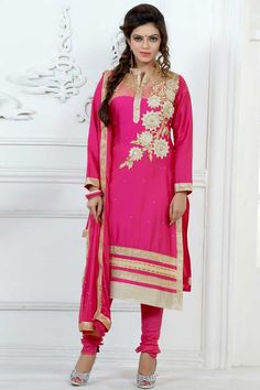 Dark pink Cotton Churidar Suit With Dupatta Dark pink, Cotton, semi stictch churidar suit. Daman/hem, neck and yoke embroidered with embroidered, resham, zari and stone work.  Chinese collar, Below knee length, full sleeves kameez.   Dark pink, cotton churidar.   Dark pink, chiffon dupatta with lace border with work.  Product are available in 34,36,38,40,42,44 sizes. It is perfect for casual wear, festival wear, party wear and wedding wear.