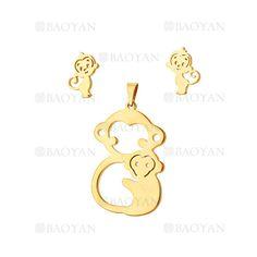 juego colgante y aretes de mono lindo en acero inoxidable -SSSTG954235