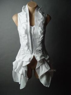 I have this one too.... WHITE Victorian Steampunk Aristocrat Dandy Ruffle Bustle Tailcoat Top fp Shirt L