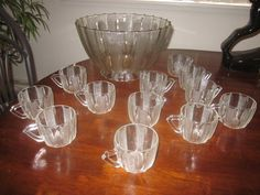JEANNETTE 1950s Depression glass DEWDROP Paneled PUNCH SET 12 Cups STAND