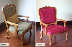 Reupholstered Craigslist chair project | DIY FROM How About Orange