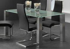 Esstisch Bürotisch Glas schwarz grau o. Milchglas Tischbeine Edelstahl kaufen bei Hood.de