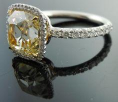 """DBL""Branded Old Mine Brilliant Yellow Diamond Ring"