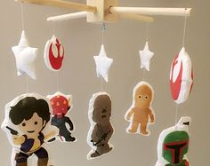 Baby Mobile - Crib Mobile - Star Wars Mobile - Nursery Mobile, Star wars mobile decor, nursery crib decor - CHOOSE YOUR CHARACTERS