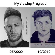 Drawing Neymar Jr Júnior Brazil realistic Pencil and Charcoal Portrait by Sascha Schürz Drawing Tutorials For Beginners, Charcoal Portraits, Neymar Jr, My Drawings, Channel, October, My Arts, Sketches, Black And White