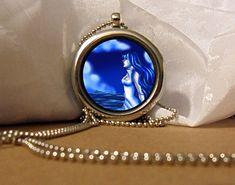 Blue Girl Art Necklace, Blue Girl Pendant, Blue Girl Necklace, Blue Girl, Fantasy Artwork, Art Pendant, Floating Charm, Fantasy Pendant by NanaFantasyJewelry on Etsy