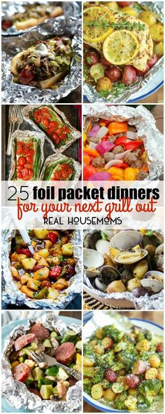love grilling during the summer months, but I love dinners with practically no clean up even more. With these 25 FOIL PACKET DINNER FOR YOUR NEXT GRILL OUT I get the best of both worlds! These recipes are great for camping too! Tin Foil Dinners, Foil Packet Dinners, Foil Pack Meals, Hobo Dinners, Summer Grilling Recipes, Summer Recipes, Grilling Ideas, Healthy Grilling, Easy Grill Recipes