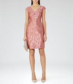 Womens Pink Devore Dress - Reiss Nora