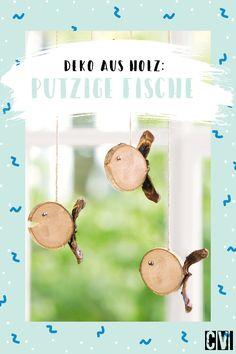 Aus einer Holzscheibe wird im Nu ein süßer Deko-Fisch. Perfekt für die maritime Stimmung im Bad oder für alle Freunde der kleinen Meerjungfrau. #Fisch #Fische #DIY #Holz