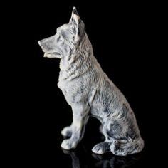 Marble German Shepherd Dog Figurine Animal Russian Art Handmade Statuette For Home Decor