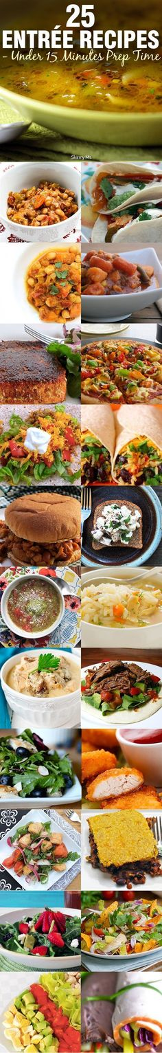 SAVE TONS OF TIME with these  25 Entre Recipes- Under 15 Minutes Prep Time.