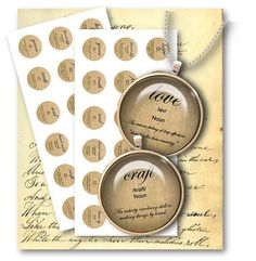 627-Love-Hope-Believe - Word Definition 1 inch Circles - Digital Collage Sheet - Vintage Papers - Digital collage sheets, Vintage Clipart, Printables, Scrapbooking supplies