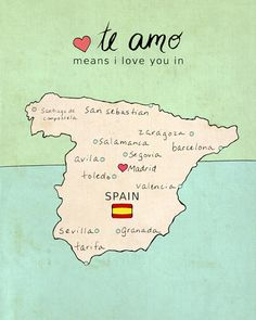 I Love You in Spain // Illustration Print Map by LisaBarbero, $18.00