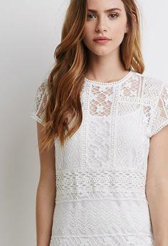 Forever 21 Semi-Sheer Ornate Crochet Dress