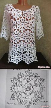 Transcendent Crochet a Solid Granny Square Ideas. Inconceivable Crochet a Solid Granny Square Ideas. Pull Crochet, Gilet Crochet, Crochet Jacket, Crochet Cardigan, Knit Crochet, Crochet Tops, Lace Sweater, Lace Tunic, Crochet Granny