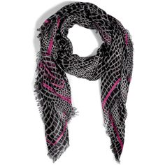 MARC BY MARC JACOBS Black Magenta Croco Standard Supply Scarf ( 175) ❤ liked 92150b610c1