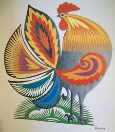 Julie B Booth: A Story in the Making: Muses Rooster Art, Rooster Decor, Polish Rooster, Chicken Painting, Chicken Art, Chicken Illustration, Illustration Art, Polish Folk Art, Easter Egg Designs