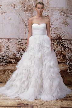 Go ruffled with this wedding dress by Monique Lhuillier Fall 2014 bridal
