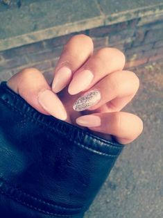 I want my nails to be exactly like this!! Pink almond acrylic nails <3 In Love...