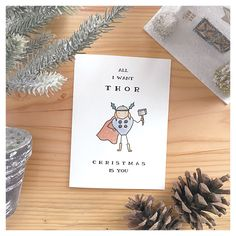All I Want THOR Christmas Is You // handmade, watercolour, custom, greeting card, marvel, avengers, superhero, themed, comic, fun, young by kenziecardco on Etsy https://www.etsy.com/ca/listing/257457249/all-i-want-thor-christmas-is-you