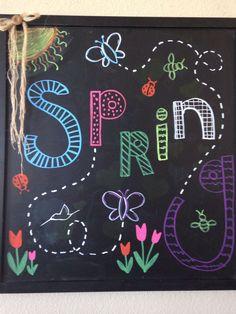 Trendy Ideas For Spring Chalkboard Art Diy Fun Chalkboard Doodles, Chalkboard Art Quotes, Blackboard Art, Chalkboard Writing, Kitchen Chalkboard, Chalkboard Decor, Chalkboard Drawings, Chalkboard Lettering, Chalkboard Designs