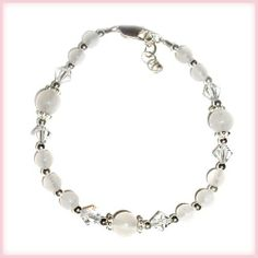"Sterling Silver LDS Baptism Bracelet for Girls with White Jade with Crystals (6 - 6 1/2"" adjustable) Cherished Moments. $19.00"