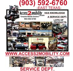 Tyler, Texas; http://inventory.access2mobility.com/inventory/ This will show you the wheelchair accessible vehicles that we currently have to offer.
