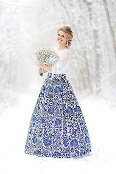 slavnostní sukně Modrý ornament Waist Skirt, High Waisted Skirt, Ballet Skirt, Floral, Womens Fashion, Skirts, Wedding, Folk, Dresses