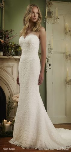 Strapless sweetheart mermaid gown in Heirloom Lace over Crepe.