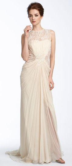 vaguely retro?  maybe kinda?    Tadashi Shoji Lace & Chiffon Wedding Gown from Nordstrom, $548    Read More http://www.glamour.com/weddings/blogs/save-the-date/2010/10/8-wedding-dresses-with-straps.html#ixzz1Zs7YB8j8