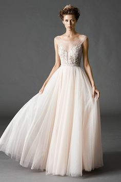 Beautiful light pink tulle wedding dress with illusion neckline. Watters, Fall 2015