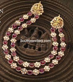 Flat Diamond and Ruby Necklace photo Diamond Necklace Set, Ruby Necklace, Diamond Pendant, Diamond Jewellery, Antique Jewellery, Bridal Jewellery, Stone Necklace, Earrings, Indian Jewellery Design