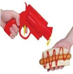 ketchup, mustard and more with the condiment gun! make-life-a-party Cool Kitchen Gadgets, Cool Gadgets, Cool Kitchens, Gadgets Shop, Camping Gadgets, Travel Gadgets, Cool Gifts, Unique Gifts, Cheap Gifts