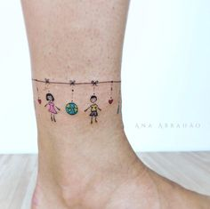Cute anklet tattoo by Ana Abrahao